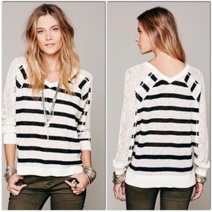 We The Free Striped Black & Cream V-Neck Sweater